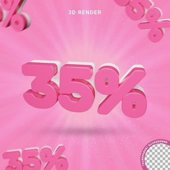 Numero 3d 35 percento colore rosa effetto testo moderno