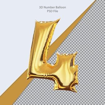 3d numero 4 palloncino dorato