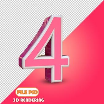 3d numero 4 scelta del colore
