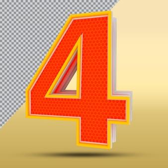 3d numero 4 stile colore arancione png