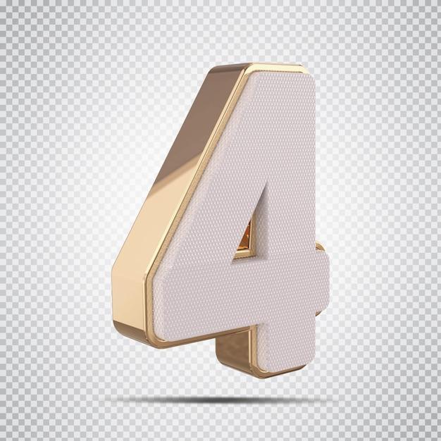 3d numero 4 con rendering in stile dorato