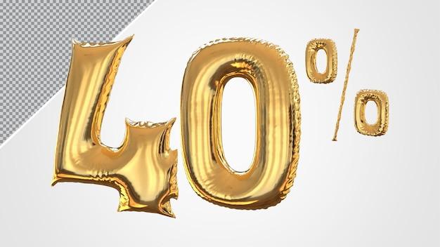 3d numero 40 percento palloncino dorato