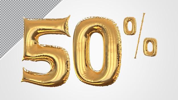 3d numero 50 percento palloncino dorato