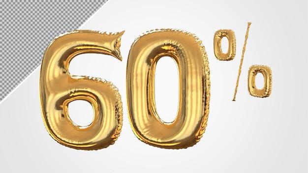 3d numero 60 percento palloncino dorato