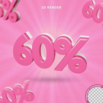 3d numero 60% colore rosa effetto testo moderno