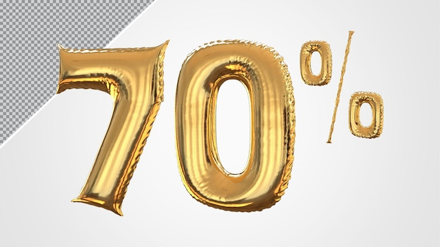3d numero 70 percento palloncino dorato