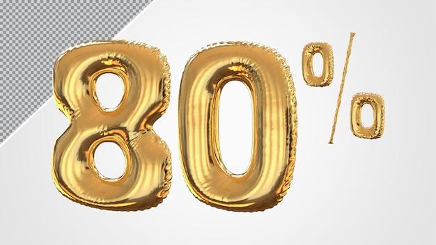 3d numero 80 percento palloncino dorato