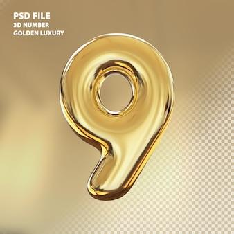 3d numero 9 rendering di lusso dorato