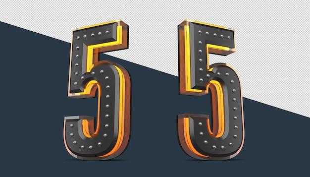 Numero 3d con decorazione a spilla ed effetto luce al neon