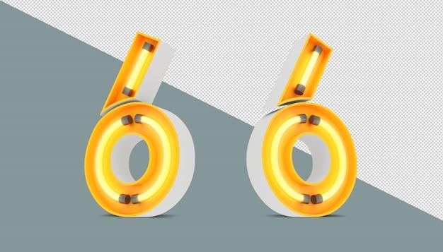 Numeri 3d con neon ed effetto della luce al neon