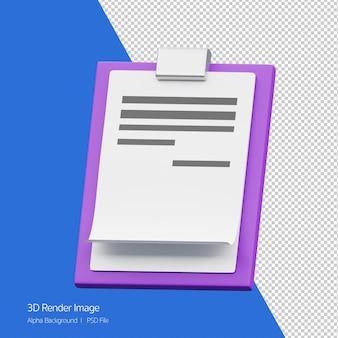 Oggetto 3d rendering dell'icona appunti isolata.