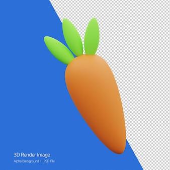 Oggetto 3d rendering dell'icona di carota cartoon carino isolato.