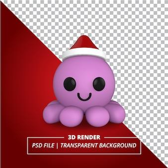 Polpo 3d reso su sfondo trasparente