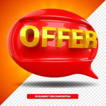 Icona sinistra del messaggio di ballon di offerta 3d