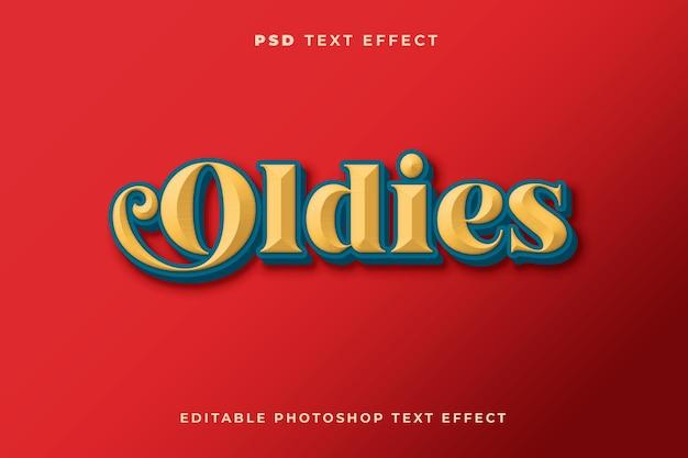 Modello di effetto testo 3d oldies con stile vintage