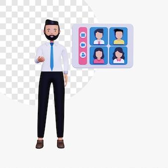 Illustrazione del concetto di riunione online 3d