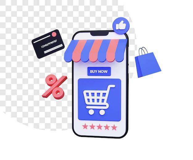 Illustrazione dello shopping online 3d