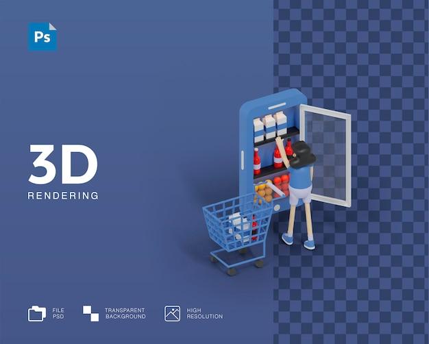 Illustrazione 3d del supermercato online