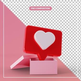 Contenitore di regalo aperto 3d con il simbolo di social media di amore di chat di bolla galleggiante