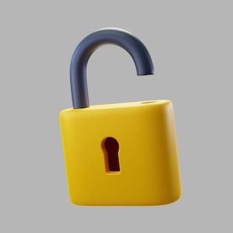 3d serratura aperta con il buco della serratura