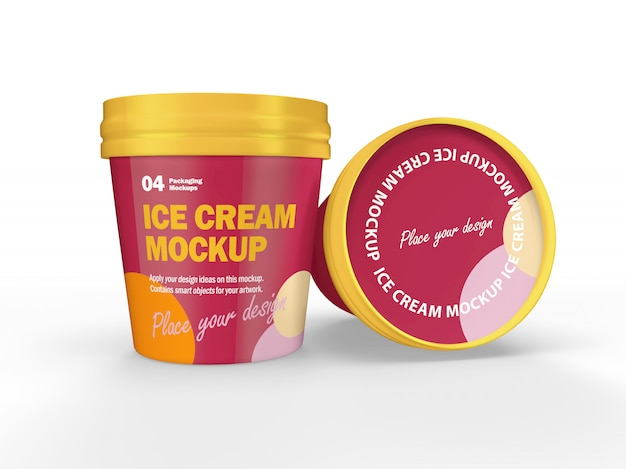 Mockup di progettazione di imballaggi 3d di coppe gelato