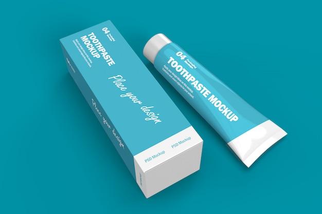 Mockup di progettazione di imballaggi 3d di tubo e scatola di dentifricio