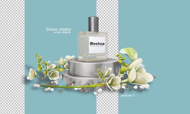 Illustrazione della bottiglia di profumo 3d tra i fiori