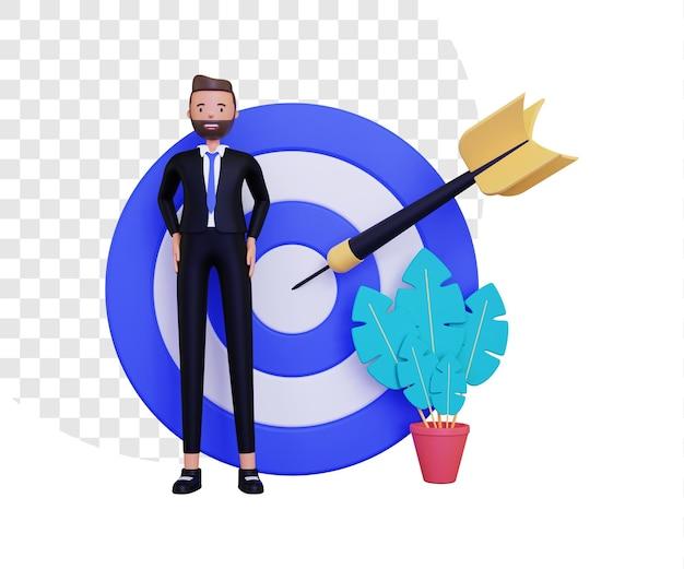 Obiettivo personale 3d con bersaglio per freccette e uomo d'affari