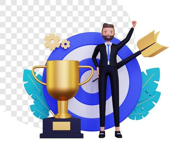 Obiettivo personale 3d con trofeo d'oro e bersaglio per le freccette