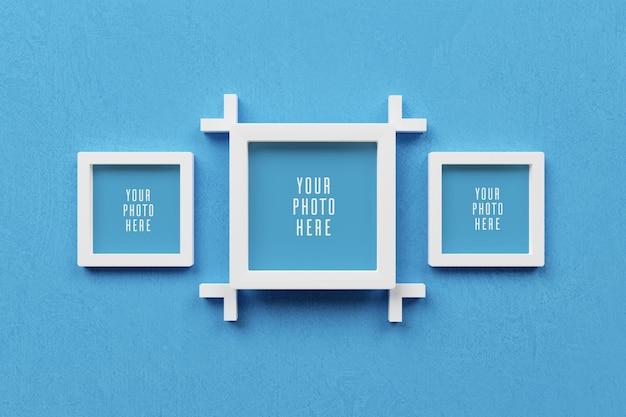 Cornice per foto 3d sul modello di parete blu chiaro