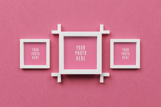 Cornice per foto 3d sul modello di parete rosa