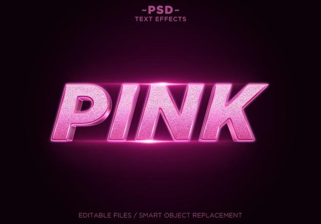 Testo modificabile di effetti glitter rosa 3d