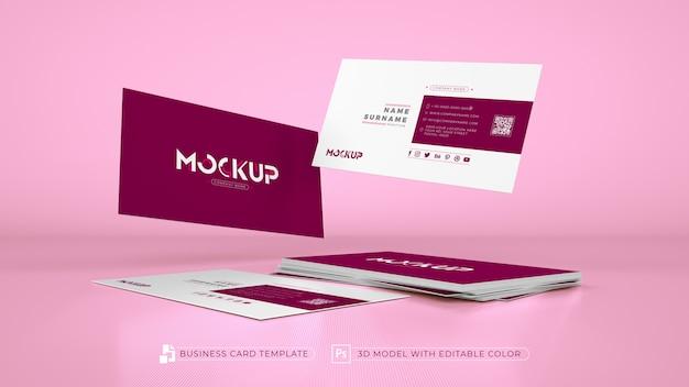 Biglietto da visita monocromatico rosa 3d
