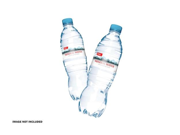 Mockup di bottiglie d'acqua in plastica 3d