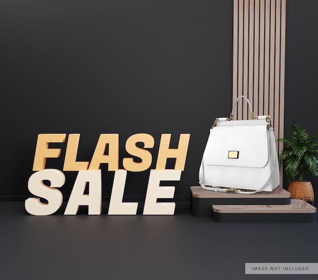 Mockup di visualizzazione di vendita flash prodotto podio 3d