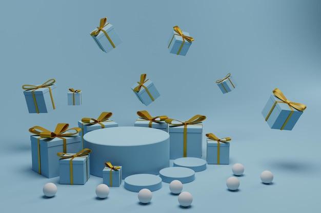 Scena del podio 3d con sfondo scatola regalo