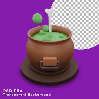 3d veleno pozione streghe magiche halloween asset icona design illustrazione alta qualità