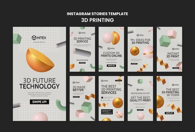 Modello di storie di instagram di stampa 3d