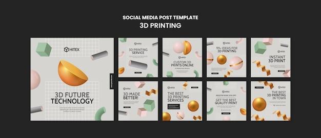 Modello di post sui social media di stampa 3d