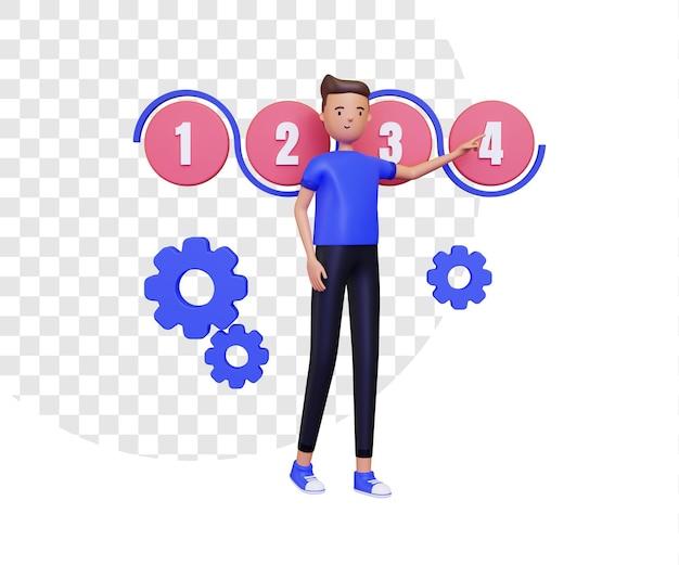 Elaborazione 3d con presentazione di un personaggio maschile