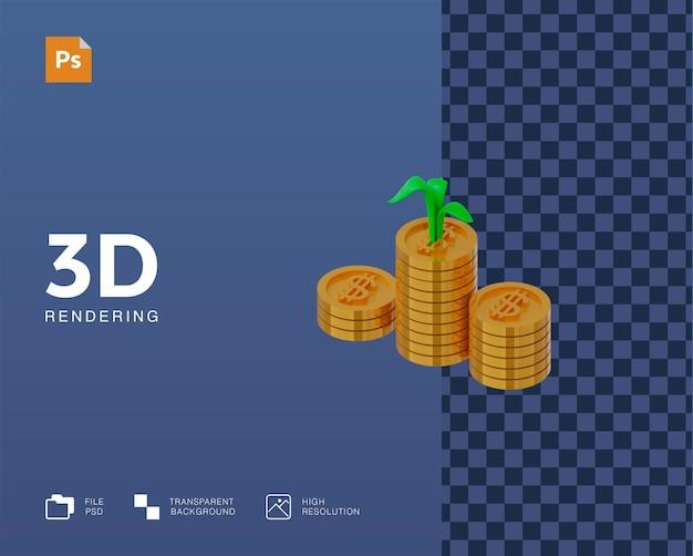 Illustrazione 3d dei soldi di profitto