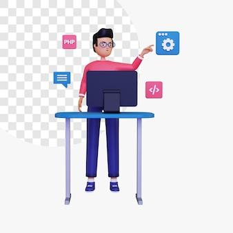 Programmazione 3d con illustrazione del concetto di computer desktop