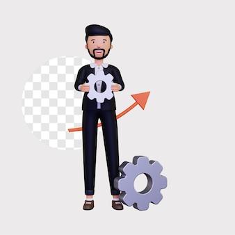 Illustrazione di progresso 3d con un personaggio di uomo d'affari maschio che tiene l'ingranaggio