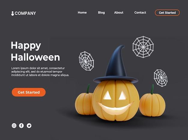 Zucca 3d con cappello da strega per evento di halloween e landing page