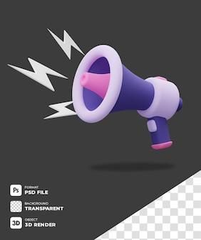Icona megafono 3d viola con sfondo trasparente