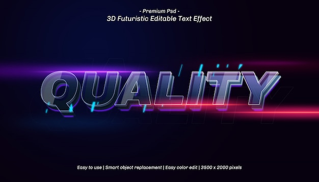 Effetto di testo modificabile di qualità 3d