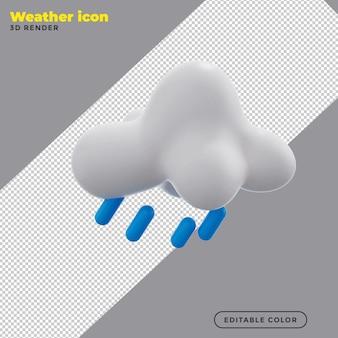 Icona del tempo di pioggia 3d