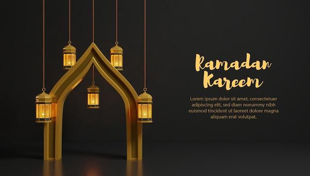 Decorazione 3d ramadan kareem con lampada