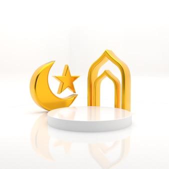 Podio di ramadan 3d per rendering realistico di posizionamento del prodotto