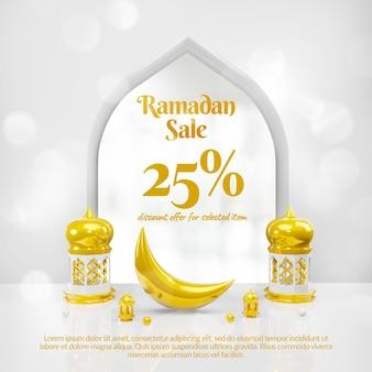 Insegna di social media di vendita del ramadan 3d con il podio